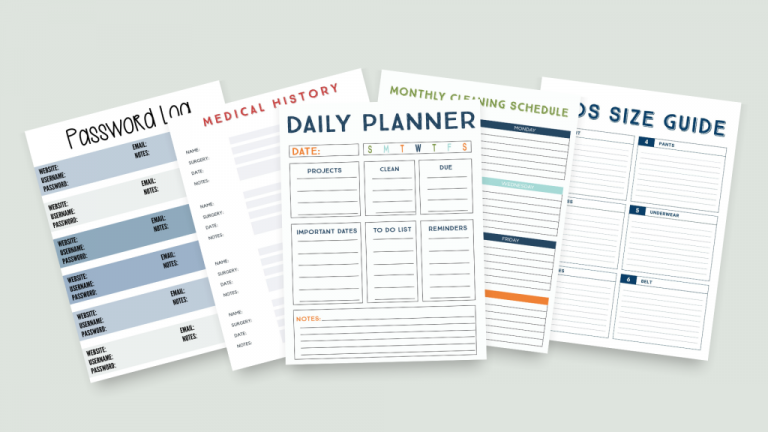 Planner for single dads and divorced dads who want to create an organized and calm home